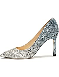 YMFIE Scarpe da sposa in raso primavera e autunno a punta tinta unita tacchi a spillo moda superficiale bocca scarpe singole scarpe da…