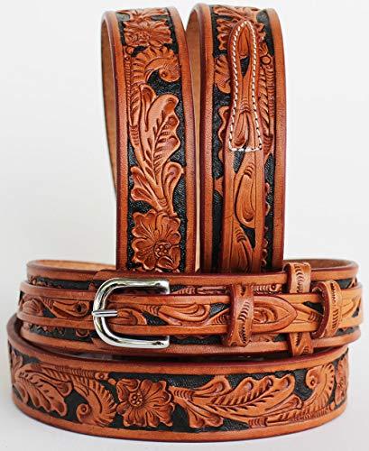 ProRider Western Ranger-Leder Gürtel Hand geschnitzt Floral 26ranger11, Tan Black Inlay, 57-58 inches -