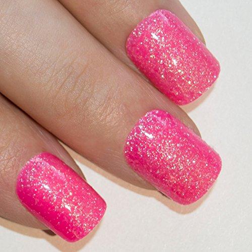Art bling faux ongles français Manucure Gel Rosa Glitter Moyen Conseils UK