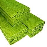 9x Geschirrtuch aus 100% Baumwolle Waffel-Piqué in hellgrün