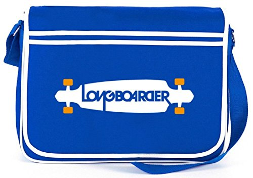 Shirtstreet24, Longboarder, Skateboard Retro Messenger Bag Kuriertasche Umhängetasche Royal Blau