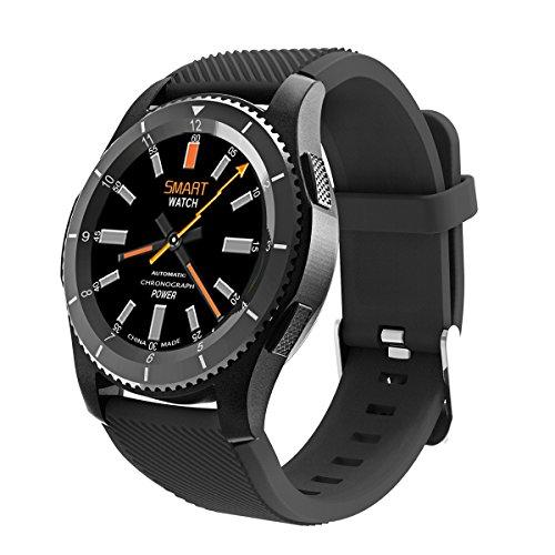 Bluetooth Smart Watch,QIMAOO 1.3 Zoll Sport Smart Handy Uhr Telefon Fitnessarmband mit Kamera SIM / TF Karten Slot Pedometer Touch Screen für iPhone Android IOS System Smartphone Schwarz(mit rotes Uhr Band) (Android-uhr-telefon Mit Sim-karte)