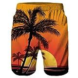 Jaminy Herren Shorts Kurze Hose 3D Druckten Herren Sommer-Beiläufige Kurze Hosen Sweat Shorts Jogging Pants Sport Bermuda Hose M-2XL (Orange, XXL)