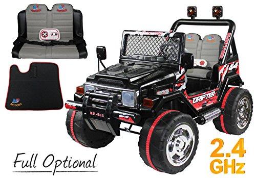 Mondial Toys AUTO ELETTRICA 12V DRIFTER 2 POSTI PER BAMBINI CON TELECOMANDO 2.4G SOFT START FULL OPTIONAL NERO