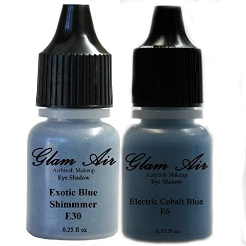 Set of Two (2) Shades of Glam Air Airbrush Eye Shadow Makeup E6 Electric Cobalt Blue and E30 Exotic Blue Shimmer Water-based Formula Last All Day (For All Skin Types) 0.25oz Bottles by Glam Air