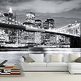 MYDIY Fondo De Pantalla 3D Foto De La Ciudad Vista Nocturna Moderna Puente De Manhattan Mural De La Sala Sofá Fondo