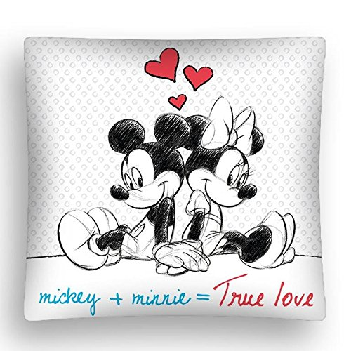 Mickey und Minnie Maus KISSENBEZUG True Love Größe: ca. 40 x 40cm (Disney Minnie Mickey)