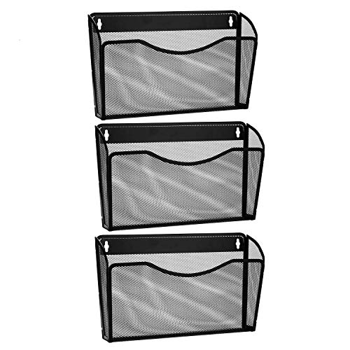 3 Pocket Wandhalterung Datei zum Aufhängen Organizer, Metall Mesh-Office Home Ordner Binder Halter Magazin Mail Sortiermaschine Rack + Hardware, Schwarz