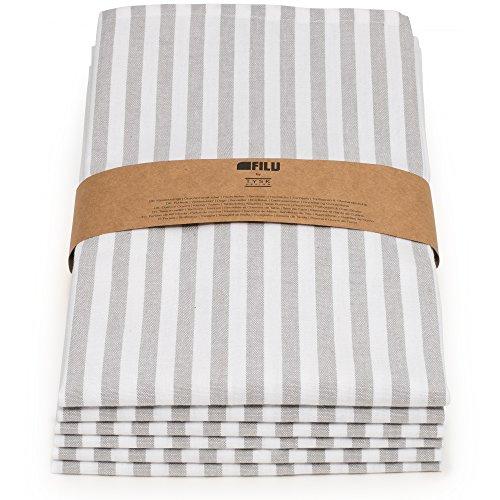FILU Geschirrtücher 6er Pack Halbleinen (Leinen/Baumwolle) grau/weiß gestreift 45 x 70 cm (Farbe und Design wählbar); hochwertig durchgefärbte Geschirrhandtücher im skandinavischen Landhausstil