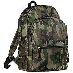 Mochila económica para senderismo, escuela, paseo, varios bolsillos, camuflaje militar