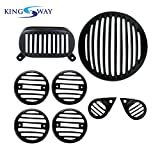#8: Kingsway Combo Of Head Light Grill, Tail Light Grill, Indicator Light Grill and Eye Grill for Royal Enfield Electra (Made up of Metal, Set of 8)