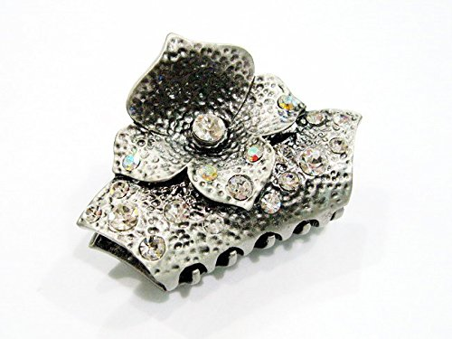 rougecaramel - Accessoires cheveux - Pince crabe cheveux métal vieilli fleur et strass - blanc