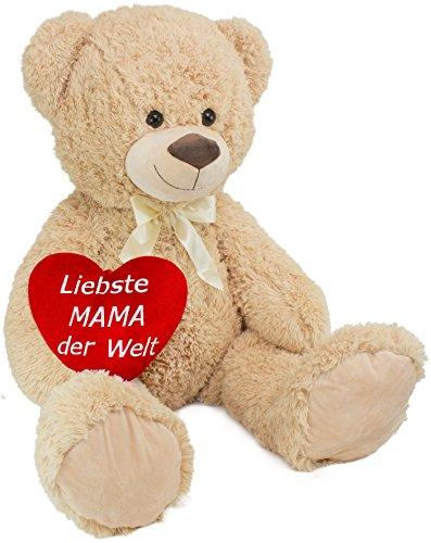 (Brubaker XXL Teddybär 100 cm groß Beige mit einem Liebste Mama der Welt Herz Plüschtier Kuscheltier)