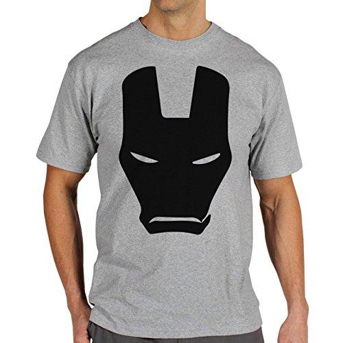 Iron Man Mask Black Avengers Herren T-Shirt Grau