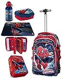 Spiderman Set XXL Zaino Trolley Scuola Astuccio Triplo Set Colazione Ragazzo Bambino