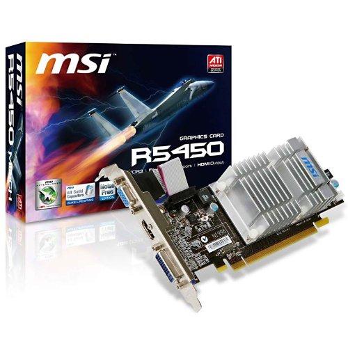 MSI ATI Radeon HD5450 Grafikkarte (PCI-e, 1GB GDDR3 Speicher, HDMI/DVI/VGA, 1 GPU) Full Retail