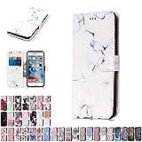 LA-Otter Coque Apple iPhone 5 5S Se Blanc Marbre Flip Case Housse Etui à Rabat Folio...