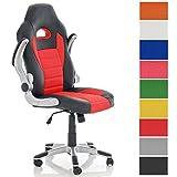 CLP Silla de oficina JOHN. Silla Gaming con reposabrazos abatibles, altura regulable entre 46 - 55 cm, asiento y respaldo en piel sintética y tejido, acolchado grueso de 8 cm y giratoria rojo