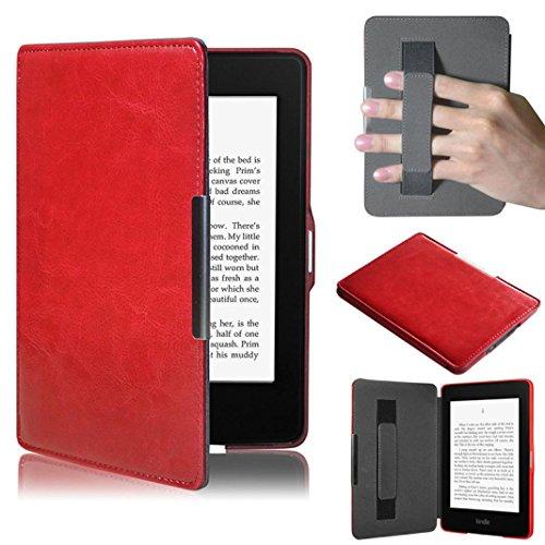 Per kindle paperwhite,amlaiworld premio copertura astuta di cuoio ultra sottile per il nuovo amazon kindle paperwhite 5 (rosso)