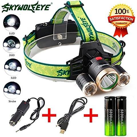 Fortan 4 modalità di 9000lm 3X XML T6 + 2R5 LED del faro del faro della torcia USB 18650 + caricabatteria da auto