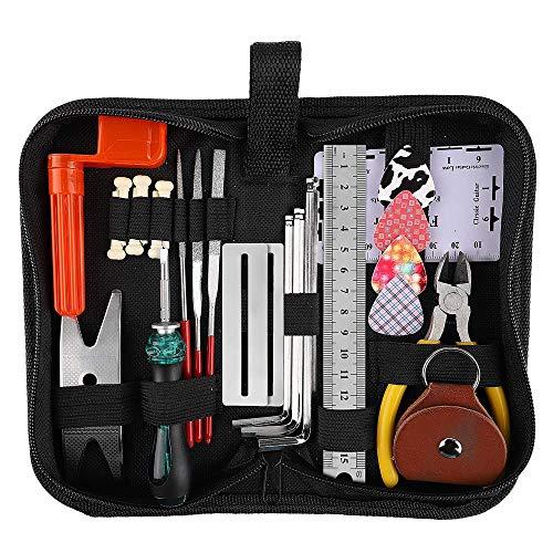 Kalaok Set di strumenti per la riparazione della chitarra Manutenzione Kit di strumenti per la pulizia Organizzatore di corde Strumento di misurazione del righello di azione