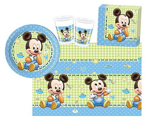 derpartyset Disney Baby Mickey, Größe S, 37 teilig (Mickey-mouse Geburtstag Deko)