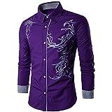 UJUNAOR Männer Herbst Winter Shirt Herren Solide Hemd Slim Fit Freizeithemd Langarm Bluse(Lila,M)