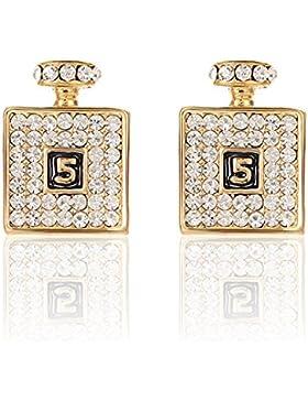 2LIVEfor Goldene Ohrringe Flasche Flacon Ohrstecker Glitzer Gold und Silber Ohrringe Quadratisch mit Österreichischen...