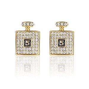 2LIVEfor Goldene Ohrringe Flasche Flacon Ohrstecker Glitzer Gold und Silber Ohrringe Quadratisch mit Österreichischen Kristallen Zahlen Nr.5 Eckig Viereck