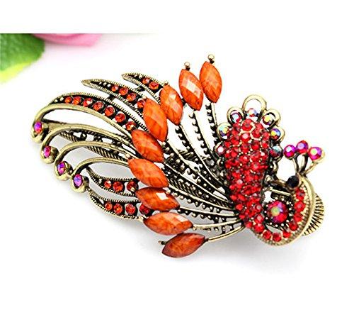 qwy Vintage en forme de paon nacré Beauté Cristal Diamant Bijoux Clip barrettes clips Griffe Cheveux Accessoires Beauté Outils