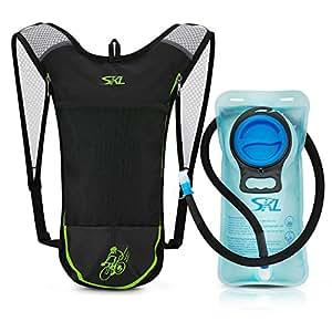 SKL Sport ciclismo zaino di idratazione Pack con 2L serbatoio di acqua vescica PBA free per running, escursionismo, arrampicata, sci ciclismo caccia sacchetto (nero)