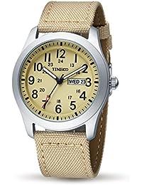 TIME100 Men's Fashion Multifunction Beige Canvas Strap Calendar Waterproof Quartz Watch #W80059G.02A