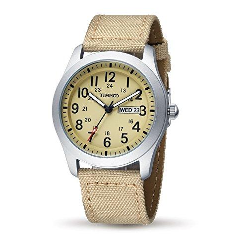 Time100 W80059G.02A W800 - Orologio da polso da uomo colore beige - Pulsante Politico Vintage
