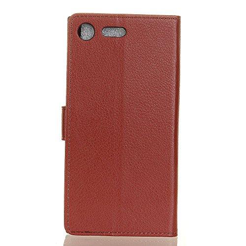 Klassische Litchi Texture PU Leder Schutzhülle Hülle Folio Flip Stand Case Cover mit Kartensteckplätzen für Sony Xperia XZ1 ( Color : Purple ) Brown