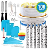 106 Pcs Cake Decorating Equipment,Wowdecor Turntable-Rotating Cake Stand Professional Cupcake Decorating Kit Baking