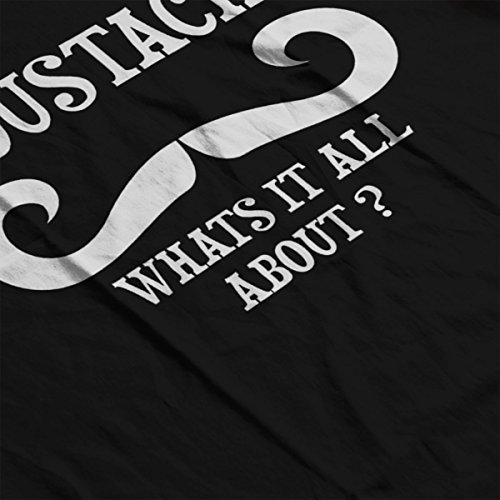 Moustache Whats It All About White Funny Womens Hooded Sweatshirt Black
