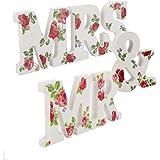 """Loriver Palabras Grandes Letras de Madera """"MR & MRS"""" de Blanca o Flores Romántico para Decoración Regalo de Boda Fiesta Hogar Coche (Flores-1)"""