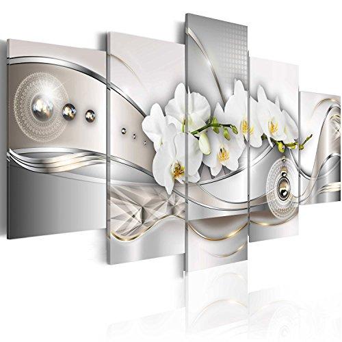 B&D XXL murando Impression sur Toile intissee 200x100 cm cm 5 Parties Tableau Tableaux Decoration Murale Photo Image Artistique Photographie Graphique Fleurs orchidée Abstrait b-A-0073-b-n
