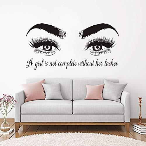 Mädchen Augen Wimpern Vinyl Wandaufkleber Wandbild Beatuy Salon Zitate Schlafzimmer Dekor Wohnzimmer Dekoration Kunst Poster Aufkleber 42 * 84 cm -