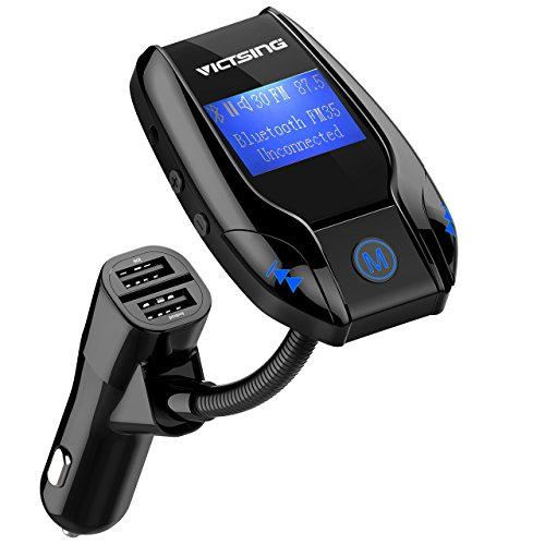 Transmetteur FM Bluetooth VicTsing Kit de Voiture Sans Fil Mains-libres Adaptateur Radio Chargeur Voiture avec 3 Ports USB Ecran d'affichage de 1,44 Pouces Lecteur MP3 Supporte Entrée Auxiliaire, Cart...