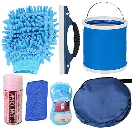 VXCAN Kit de limpieza para coche (7 piezas, incluye bolsa de almacenamiento redonda, plegable, guante de lavado, esponja, limpiacristales para coches, ventanas, puertas y ruedas)