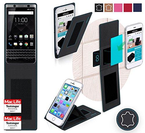 reboon Hülle für BlackBerry KEYone Tasche Cover Case Bumper | Schwarz Leder | Testsieger