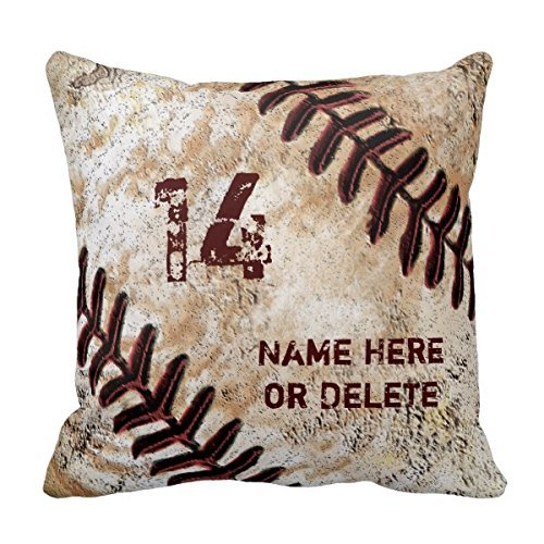 Decors Jersey Number and Name on Vintage Baseball Pillow (Baseball-vintage-jersey)