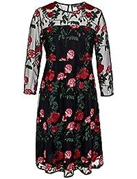 HALLHUBER Mesh-Kleid mit Rosenstickerei A-Linie