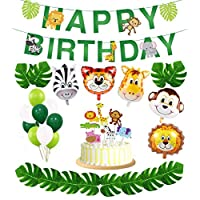 35Pcs Zoo Animal Foil Balloons Jungle Theme Party Supplies Safari Wild Theme Happy Birthday Party Decorations, including Banner, Foil Party Balloons,Latex balloon,tropical leaves and Cake flag