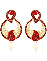 Touchstone Paisley Motif Alloy Metal Gold Tone Candy Red Crystals Designer Chandelier Earrings For Women