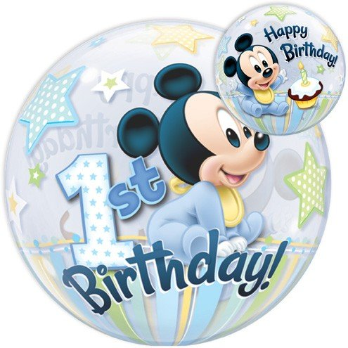 Qualatex 12864 'Single DN Mickey Mouse 1st Bday 1' globo de burbujas, 55,9 cm (22)