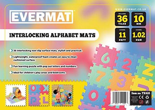 Evermat TX42011ft EVA-Schaum Alphabet ABC 123Puzzle Play Matte, mehrfarbig, 1,02qm, von...