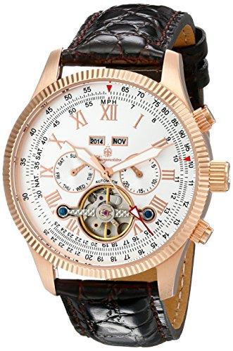Burgmeister Armbanduhr für Herren mit Analog Anzeige, Automatik-Uhr und Lederarmband - Wasserdichte Herrenuhr mit zeitlosem, schickem Design - klassische Uhr für Männer - BM330-315 Malabo