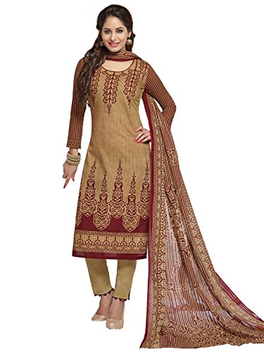 PSHOPEE Light Brown & Maroon Lawn Cotton Printed Karachi Special Unstitched Salwar...